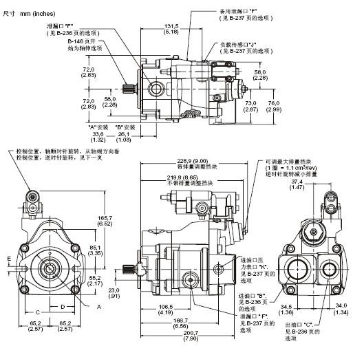 威格士液压系列 机械用回路轴向柱塞泵   型号代&